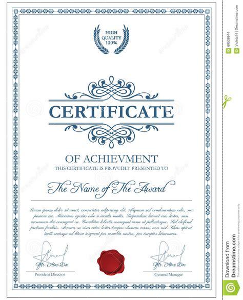 certificate template  guilloche elements stock vector