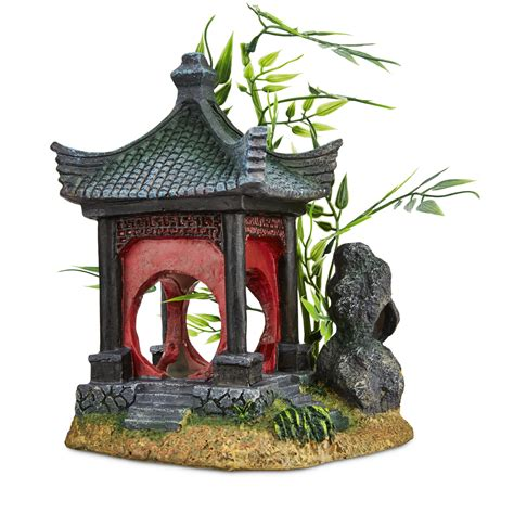 Petco Fish Aquarium Decorations by Imagitarium Asian Gazebo With Bamboo Ornament Petco