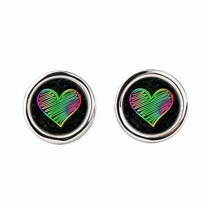 Heart Love Neon Rainbow Colors Round Cufflinks by