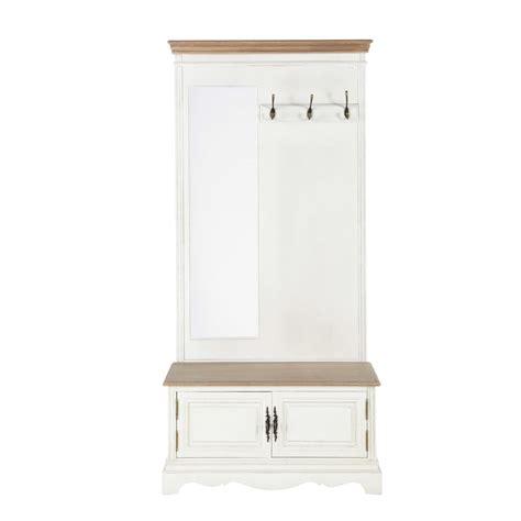 patere chambre bebe meuble d 39 entrée avec miroir en bois crème l 90 cm léontine