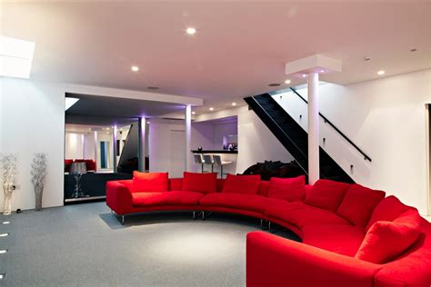 cinema room red couch interior design ideas
