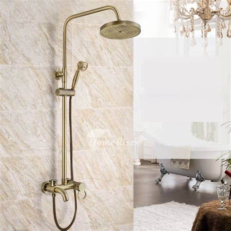 gold shower faucet antique brass wall mount luxury  hole