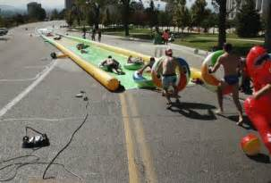 downtown la slip n slide slide the city things to do in los angeles thrillist