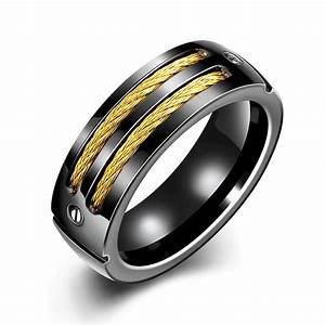 hot black 316l stainless steel rings for men gold plated With best metal for men s wedding ring