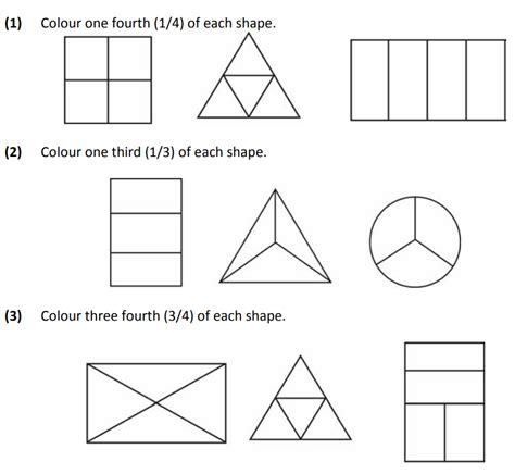 basic fraction worksheets  class  maths