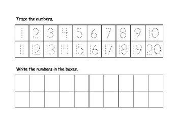 trace numbers    printable