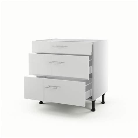 meuble cuisine a tiroir meuble de cuisine bas blanc 3 tiroirs h 70 x l 80 x p