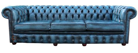 blue settee chesterfield 4 seater antique blue leather sofa settee 3