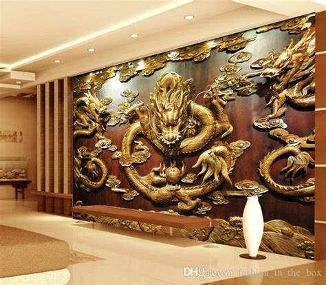 custom  wallpaper wood carving dragon photo wallpaper