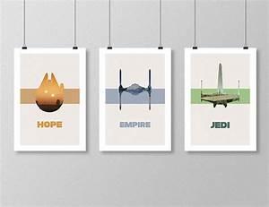 STAR WARS Original Trilogy Movie Poster Set Minimalist Movie
