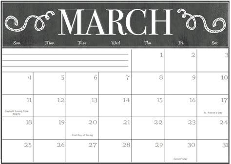 march  calendar editable printable  printable