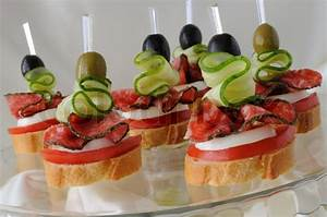 Canapés with salami Stock Photo Colourbox