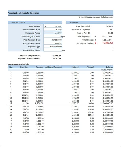 Amortization Table Excel - sle excel amortization schedule 11 exles in excel