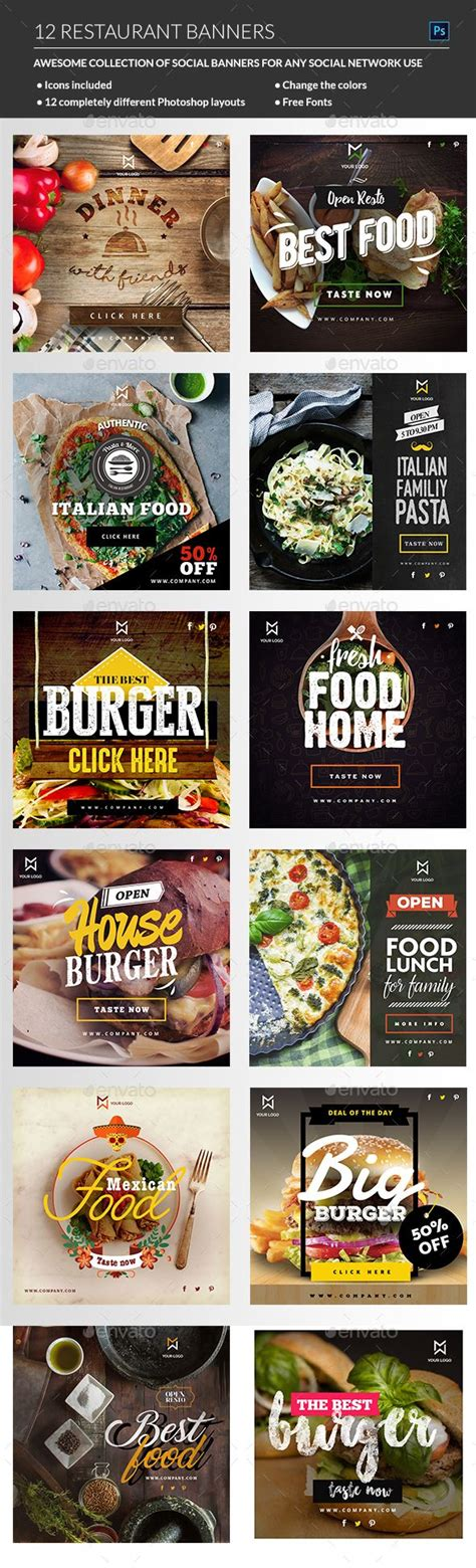 Banners Redes Sociales Template by Food Restaurant Banners Restaurante Redes Sociales Y