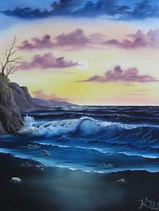 bob ross seascape sunset painting for sale