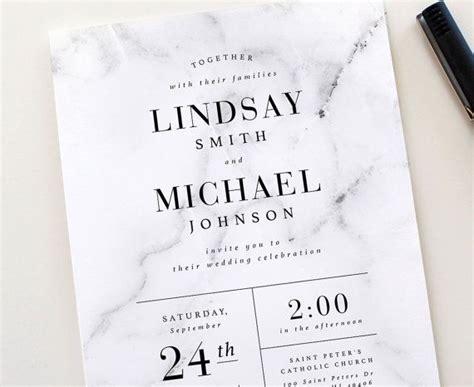 Modern Marble Wedding Invitation Set Marble Wedding