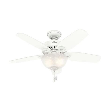 small white ceiling fan hunter builder small room 42 in indoor snow white bowl