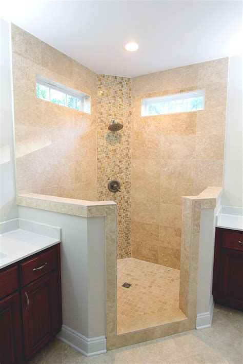custom walk  corner shower  floor  ceiling tile