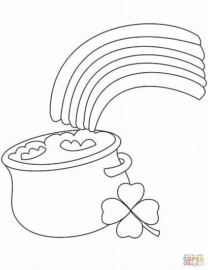 Pot Rainbow Coloring Gold Pages Printable Coins