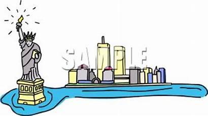 York Clipart Clip Harbor Liberty Cartoon Immigrants