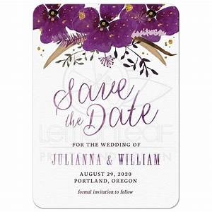 Save The Date Cards - Pretty Watercolor Violet Flowers