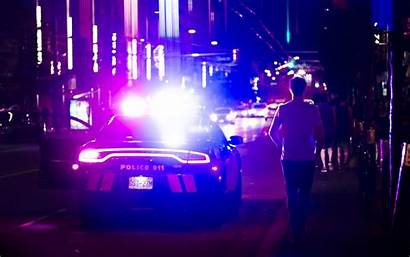 Police Night Lights Background Wallpapers Way Wallpaperscraft