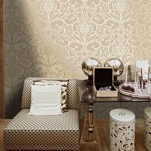 Holden Floral Damask Pattern Metallic Textured Wallpaper ...