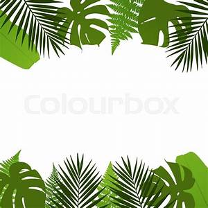 Stock vector of 'Tropical leaves background with palm,fern ...