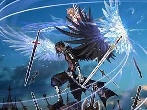 Anime characters wings angel male girl swords wallpaper ...
