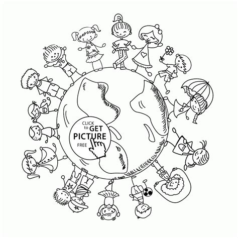 happy kids  earth day coloring page  kids coloring