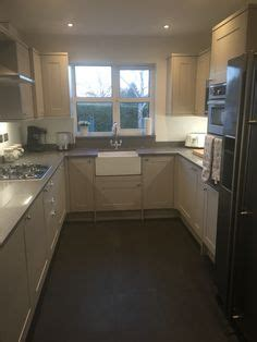 hardwood flooring for kitchens painted light grey wood kitchen with marble worktops and 4155