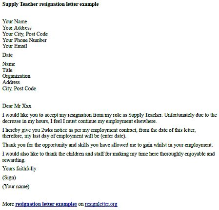 supply teacher resignation letter  resignletterorg