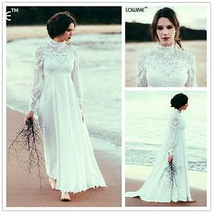 empire waist bohemian maternity wedding dress high neck With long sleeve empire waist wedding dress