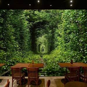 3D Wallpaper Mural Green Forest Entry Door Wall Paper ...