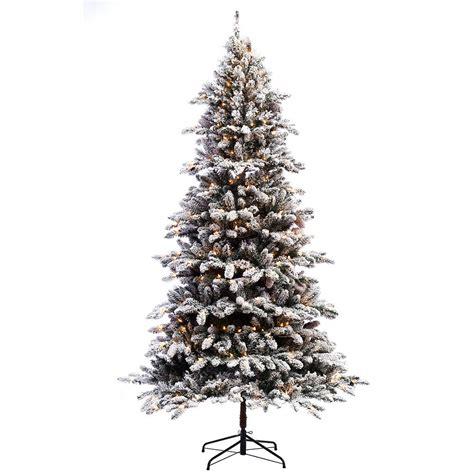 ge alaskan fir flocked pre lit tree 10 ft dunhill fir artificial tree with 1200 clear lights duh3 100lo s the home depot