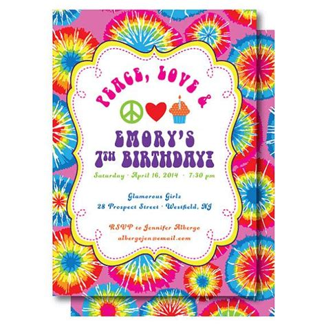 tie dye birthday invitation peace love  birthdays