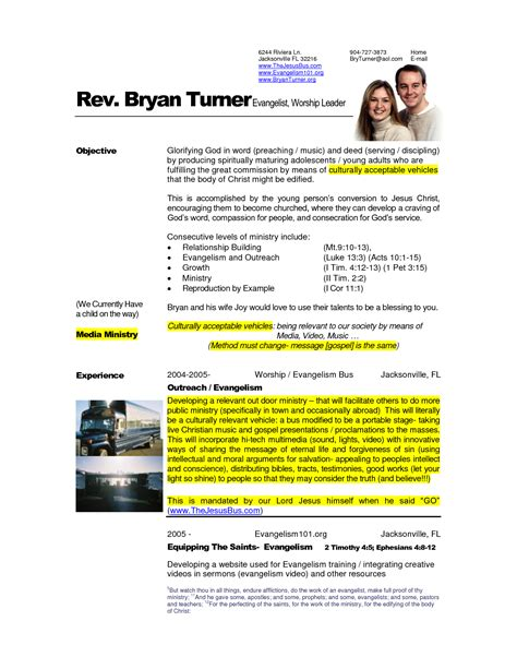 Pastor Resume Template by Free Exles Of Pastoral Resumes How To Write A Pastor