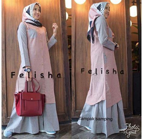 gamis soft denim gamis remaja modern maxi felisha baju muslim terbaru