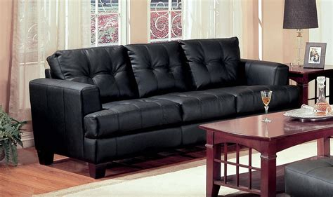 Sam Leather Sofa by Samuel Black Leather Sofa 501681 From Coaster 501681