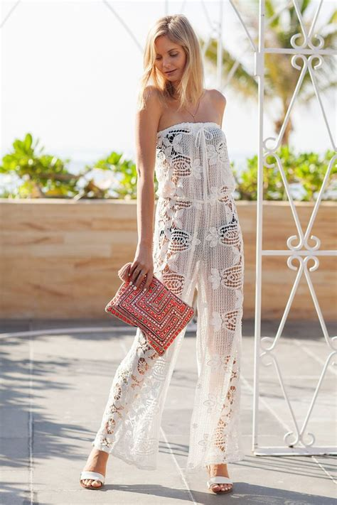 summer cover  beachwear fashion lace jumpsuit