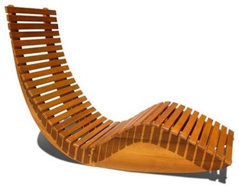 eucalyptus wood rocking chaise lounge chair modern