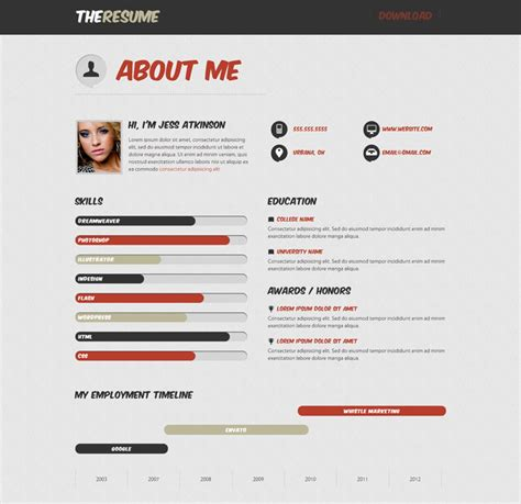 Resume Web Site by 20 Top Cv Website Template Designs For You