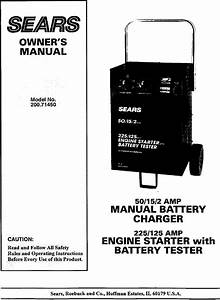 Sears 20071450 User Manual Battery Charger Manuals And