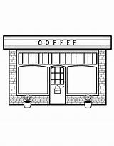 Coloring Coffee Cafe Stores Pdf sketch template