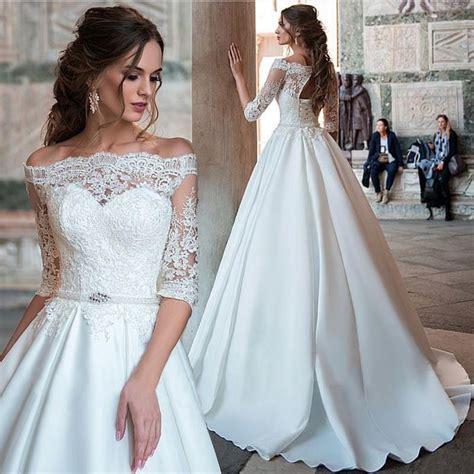 half sleeve wedding dress lace wedding dress satin