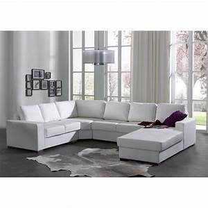 canape d39angle 6 places oara blanc en cuir pu With canapé d angle 6 places cuir