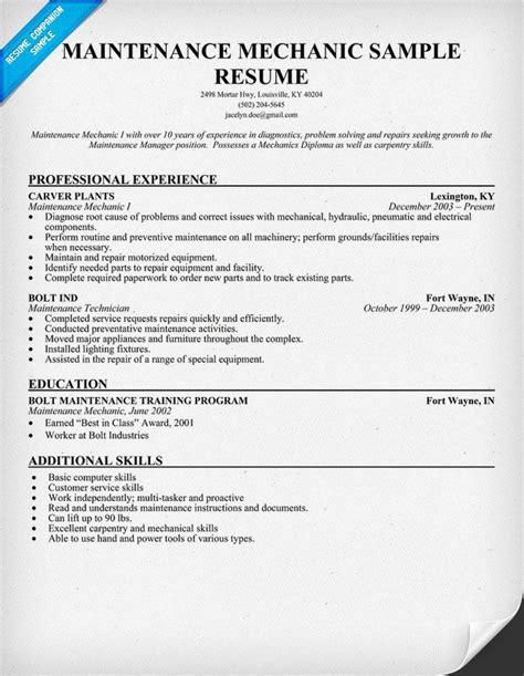 maintenance mechanic resume sample resumecompanioncom