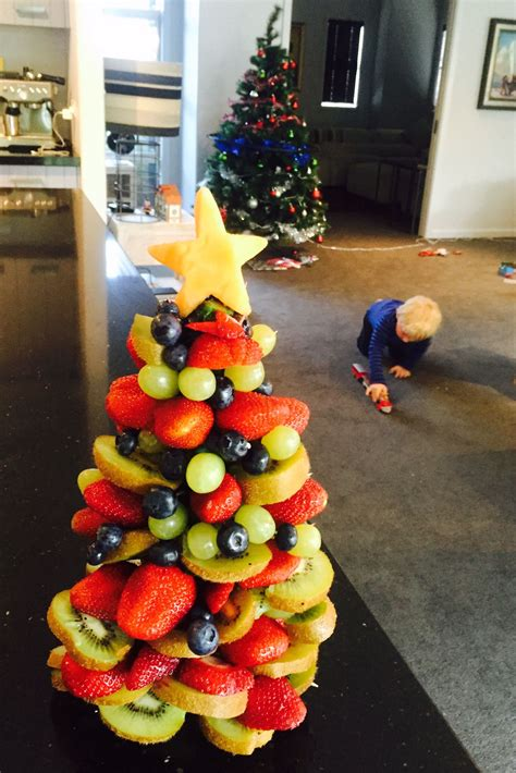 christmas tree made of fruit dom s kitchen