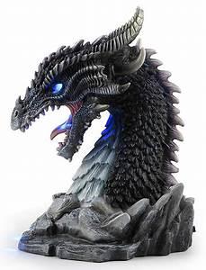 Horned, Obsidian, Dragon, Bust, Statue, Led, Stu-home, Aawu77274aa