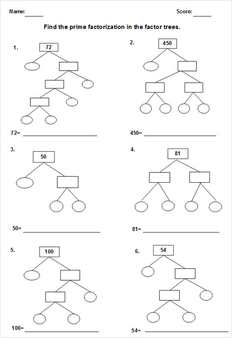 free factor tree worksheet templates